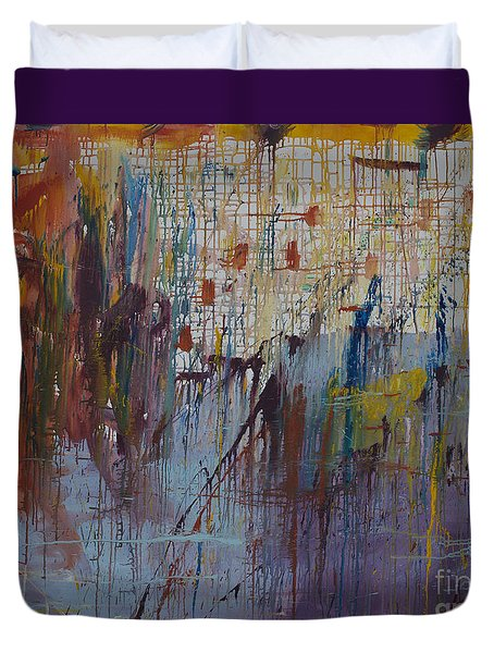 Duvet Cover featuring the painting Drizzled by Avonelle Kelsey