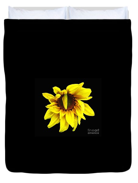 Droops Sunflower With Oil Painting Effect Duvet Cover by Rose Santuci-Sofranko
