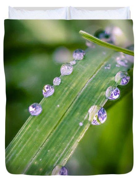 Drops On Grass Duvet Cover
