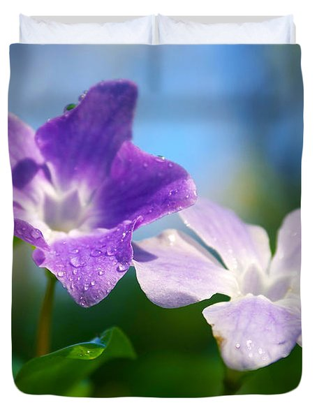 Drops On Violets Duvet Cover by Carlos Caetano