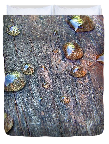Drops On Wood Duvet Cover
