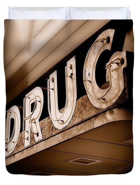 Drug Store Sign - Vintage Downtown Pharmacy Duvet Cover