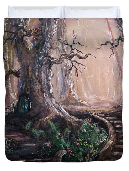 Duvet Cover featuring the painting Druid Walk by Megan Walsh