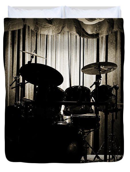 Drum Set On Stage Photograph Combo Jazz Sepia 3234.01 Duvet Cover by M K  Miller