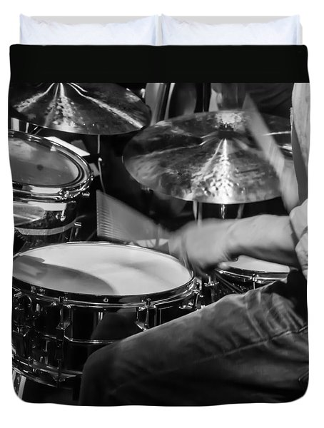Drummer At Work Duvet Cover by Photographic Arts And Design Studio