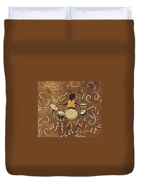 Drummer Duvet Cover by Katherine Young-Beck