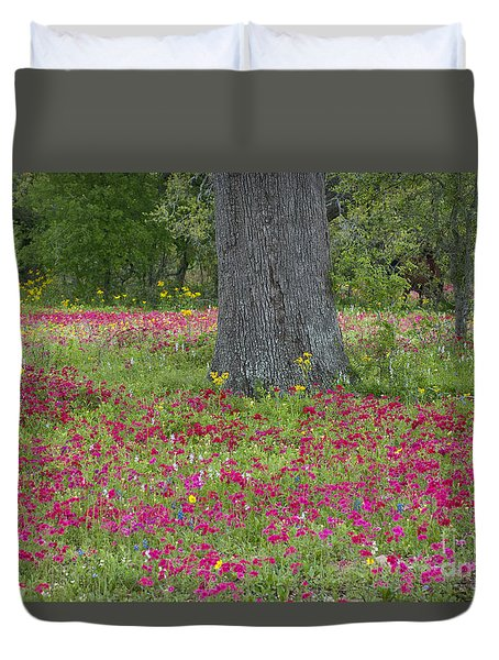 Duvet Cover featuring the photograph Drummonds Phlox And Crown Tickweed Central Texas by Dave Welling