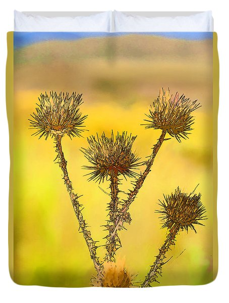 Dry Brown Thistle Duvet Cover