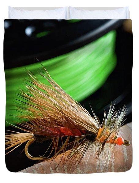 Dry Fly - D003399b Duvet Cover by Daniel Dempster