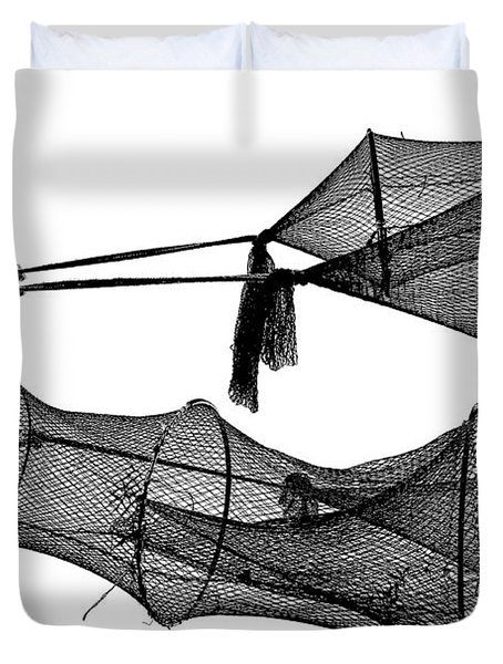 Drying Fishing Trap Nets On Poles Duvet Cover by Niels Quist