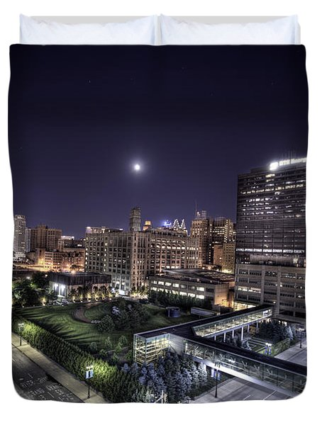 Duvet Cover featuring the photograph Dte In Detroit by Nicholas  Grunas