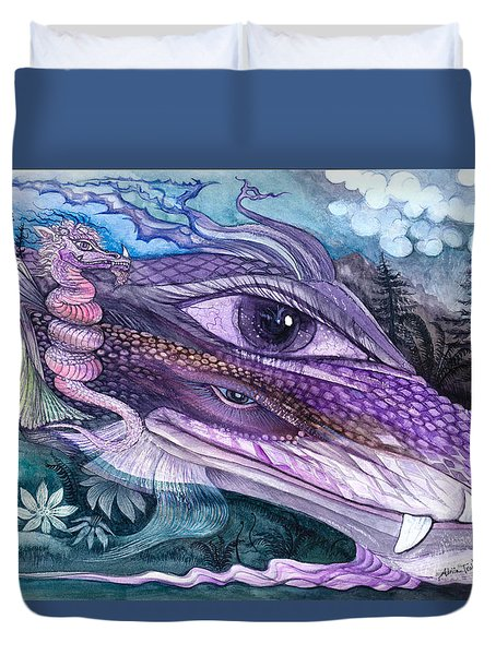Dual Dragons Duvet Cover by Adria Trail