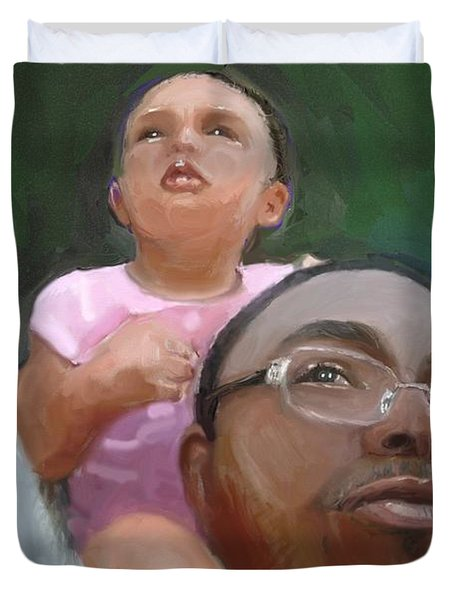 Duvet Cover featuring the painting Duane by Vannetta Ferguson