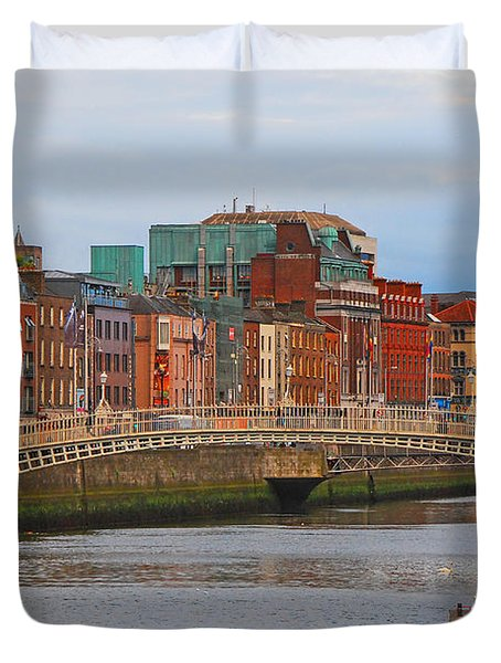 Dublin On The River Liffey Duvet Cover