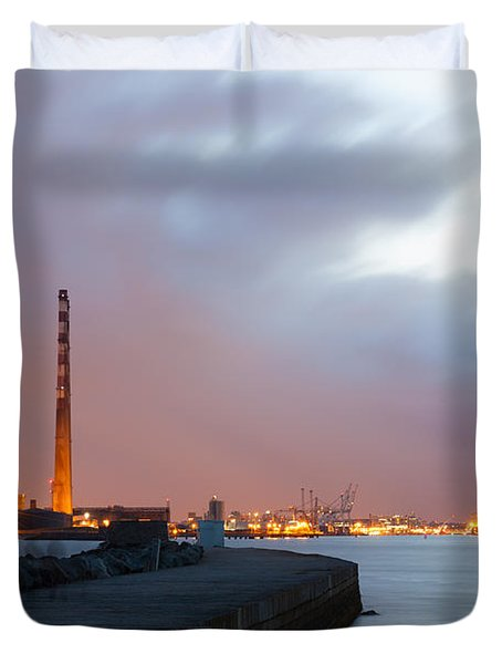 Dublin Port At Night Duvet Cover
