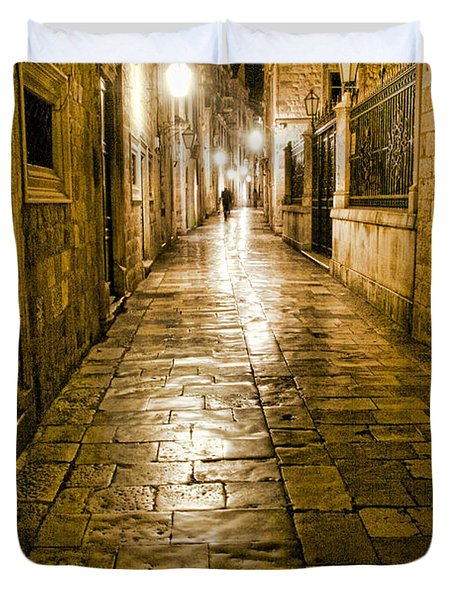 Dubrovnik Streets At Night Duvet Cover