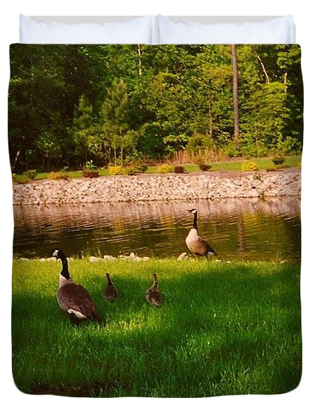 Duck Family Getting Back From Pond Duvet Cover