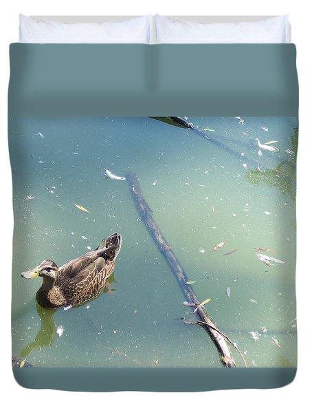 Duck In Pond Duvet Cover