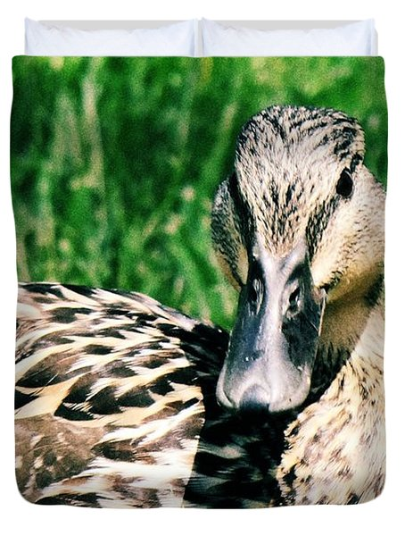 Duvet Cover featuring the photograph Duck by Lisa Brandel