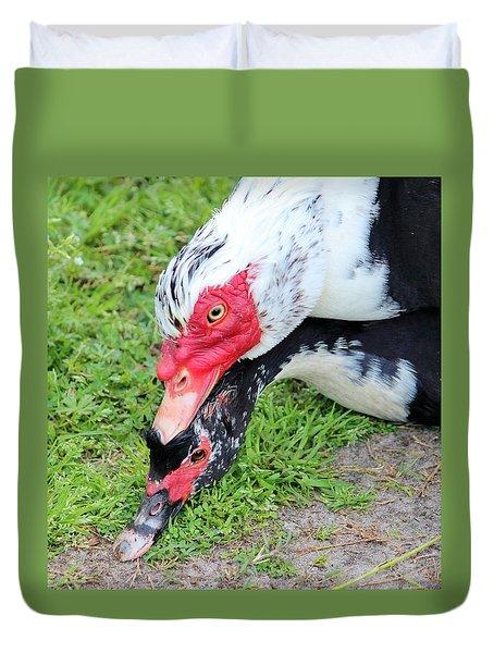 Duck Love Duvet Cover by Cynthia Guinn