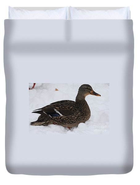 Duvet Cover featuring the photograph Duck Playing In The Snow by John Telfer
