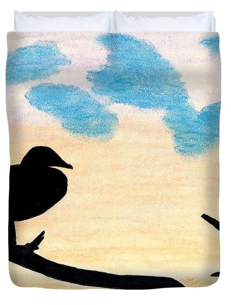Duvet Cover featuring the drawing Duck Sunset by D Hackett