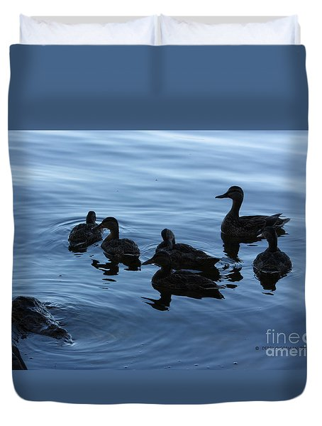 Ducks At Dusk Duvet Cover