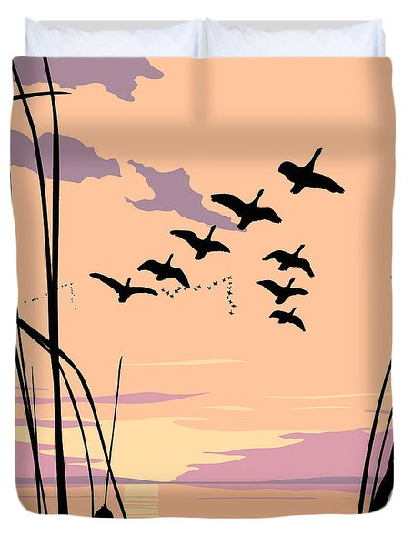 Ducks Flying Over The Lake Abstract Sunset - Square Format Duvet Cover