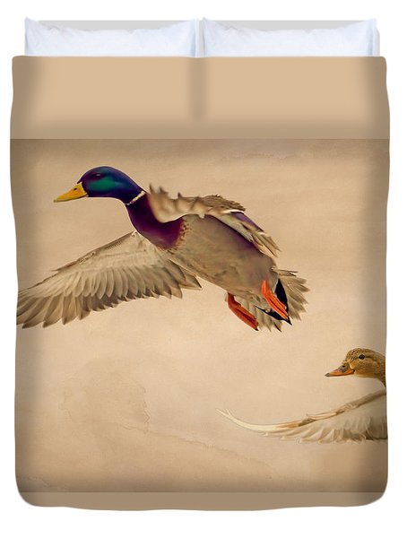 Ducks In Flight Duvet Cover by Bob Orsillo