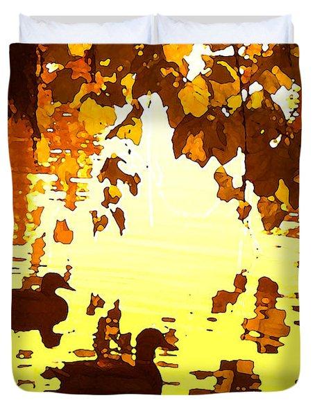 Ducks On Red Lake B Duvet Cover by Amy Vangsgard