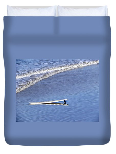 Duvet Cover featuring the photograph Dude Where Is My Surfer by Kathy Churchman