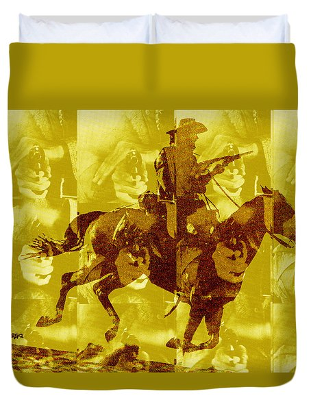 Duvet Cover featuring the digital art Duel In The Saddle 1 by Seth Weaver
