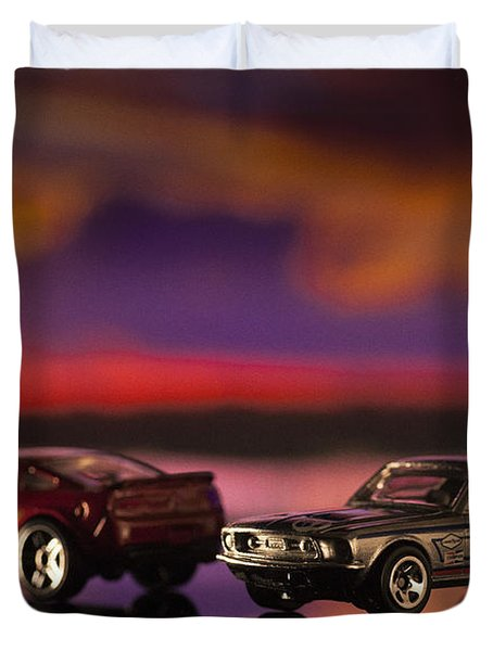 Dueling Mustangs Duvet Cover by Bradley R Youngberg