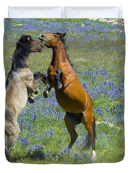 Dueling Mustangs Duvet Cover