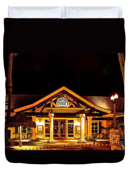 Duke's Restaurant Front - Huntington Beach Duvet Cover by Jim Carrell