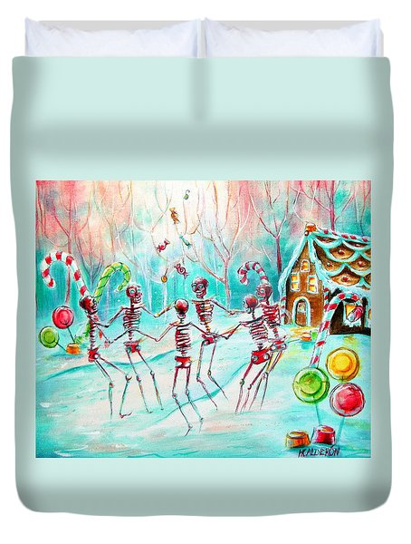 Duvet Cover featuring the painting Dulcelandia by Heather Calderon