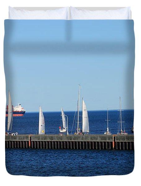 Duluth Mn Harbor Duvet Cover by Lori Tordsen