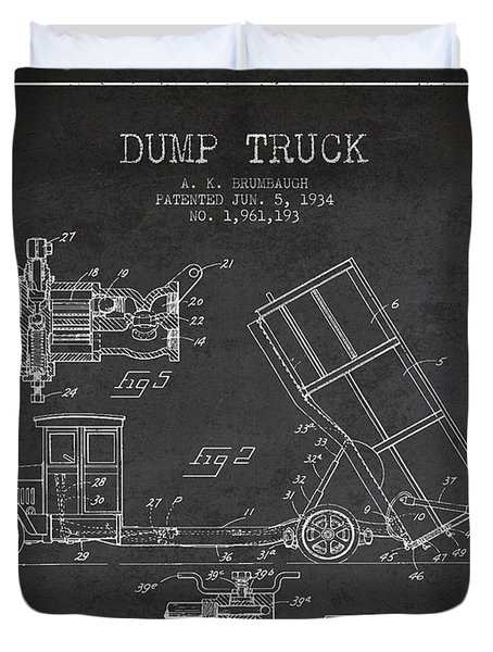 Dump Truck Patent Drawing From 1934 Duvet Cover