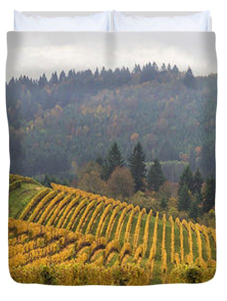 Dundee Oregon Vineyards Scenic Panorama Duvet Cover