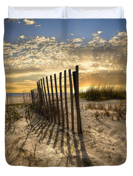 Dune Fence At Sunrise Duvet Cover by Debra and Dave Vanderlaan