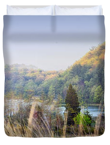 Dune Lake Panorama Saugatuck Mi Duvet Cover
