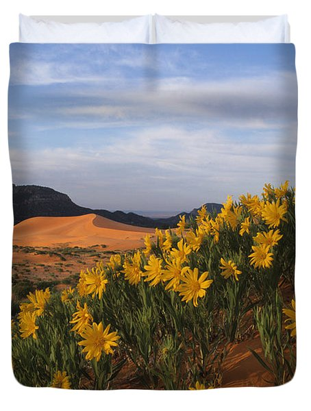 Dunes In Bloom Duvet Cover