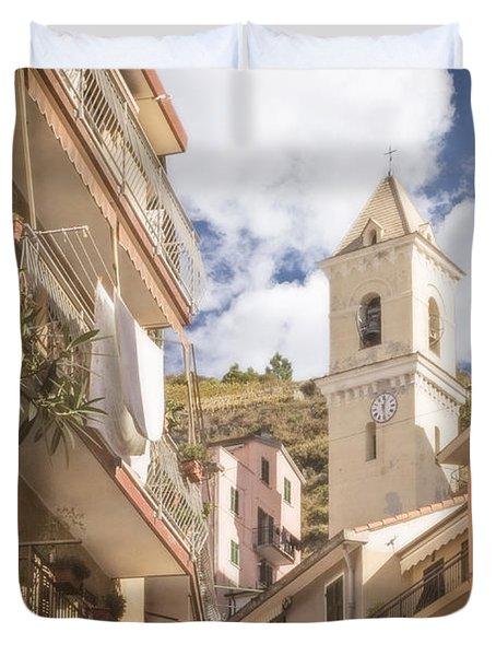 Duomo Bell Tower Of Manarola Duvet Cover