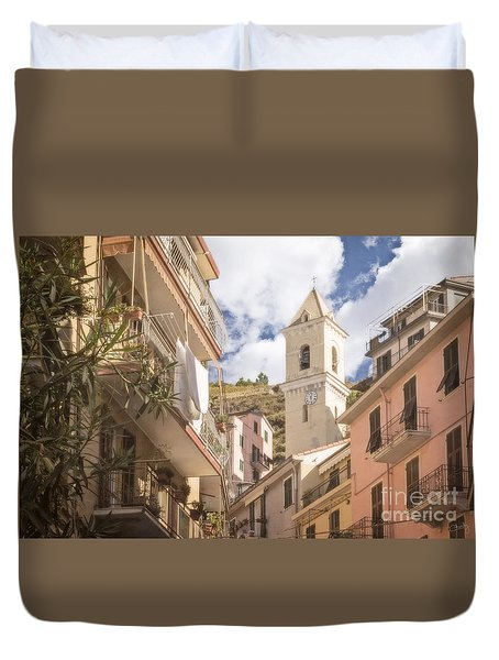 Duomo Bell Tower Of Manarola Duvet Cover