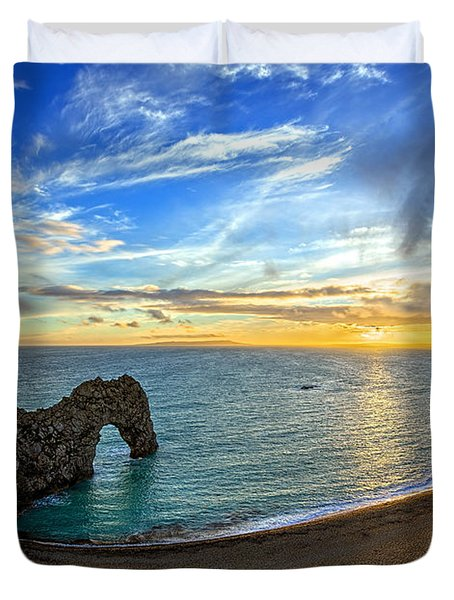 Durdle Door Sunset Duvet Cover by Ian Good