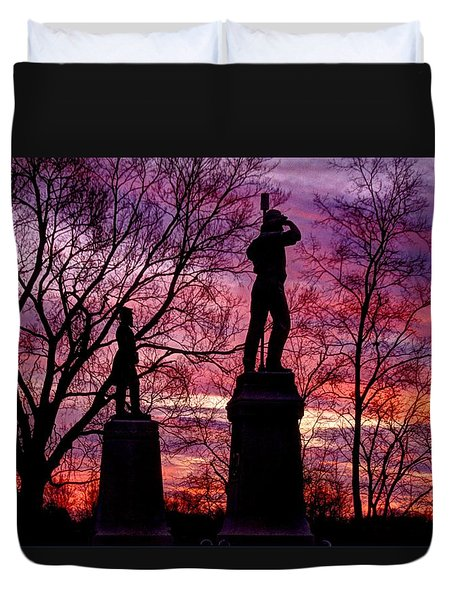 Durell's Independent Battery D And 48th Pa Volunteer Infantry-a1 Sunset Antietam Duvet Cover by Michael Mazaika