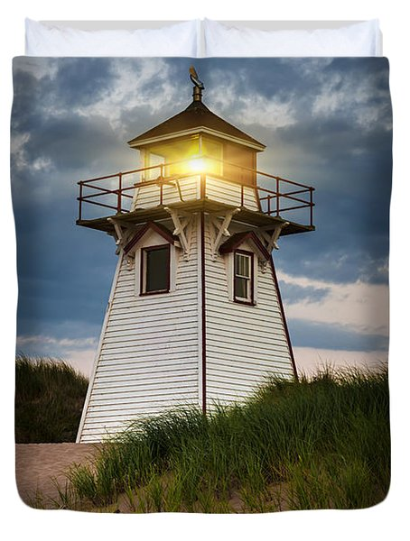 Dusk At Covehead Harbour Lighthouse Duvet Cover