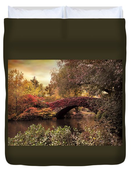 Duvet Cover featuring the photograph Dusk At Gapstow by Jessica Jenney