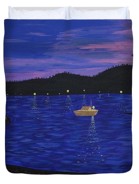 Dusk On Puget Sound Duvet Cover by Vicki Maheu
