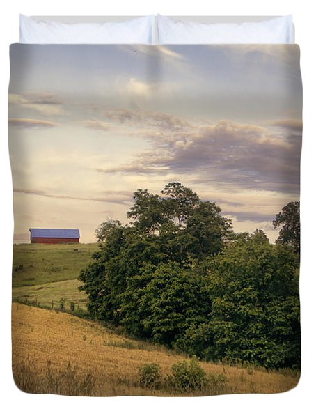 Dusk On The Farm Duvet Cover by Heather Applegate